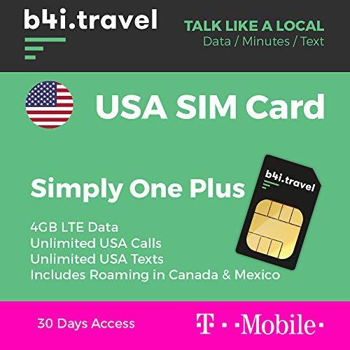 USA Prepaid-SIM-Karte – von T-Mobile – 4 GB LTE-Daten, unbegrenzte Anrufe. Unlimited Texts, inkl. Roaming in Kanada und Mexiko – 30 Tage