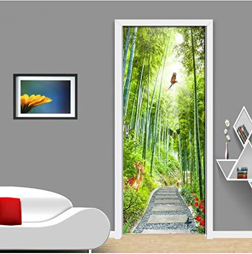 Door stickers door decals, Bamboo Forest Elk Road Landscape Traditional Home Decoration 3D Door Sticker Home Decor Art Mural Vinyl Wallpaper 3D Decals
