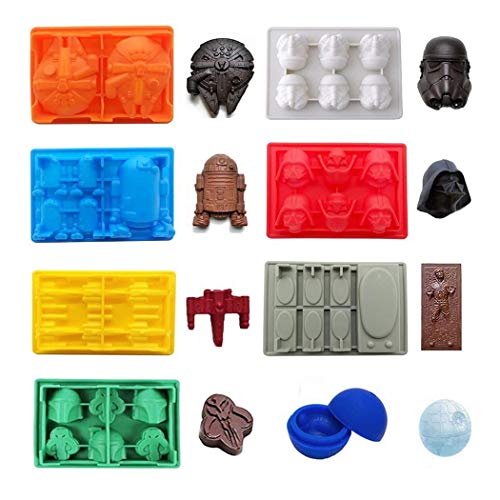 FantasyBear Star War Shaped Mold,Set of 8 Silicone Flexible Molds for Star Wars Lovers Robots Birthday Cake Decoration Candy Molds Chocolate Molds Soap Molds Baking Molds Jello Molds (8pcs Set)