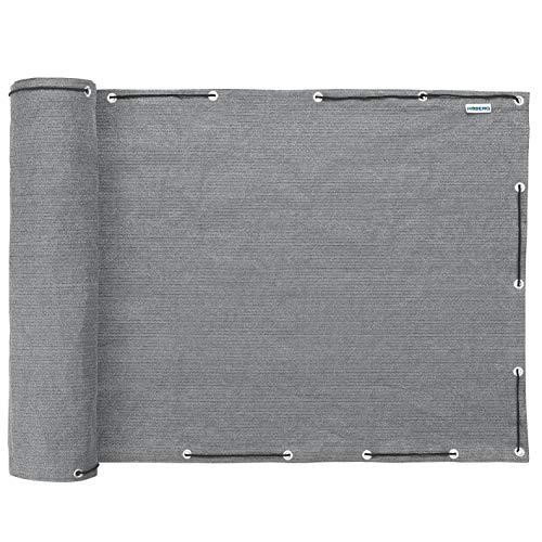 Hoberg Balkon-Sicht- und Windschutz in Grau, 90 x 500 cm, Extra Lange Kordel (20 m), Blickdicht, Wetterfest, UV-beständig, Knitterfrei, Wasserabweisend