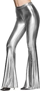 Women Shiny Metallic Flare Leggings Long Wide Leg Pants Slim High Waist Bell Bottoms Vintage 70s Disco Yoga Trousers