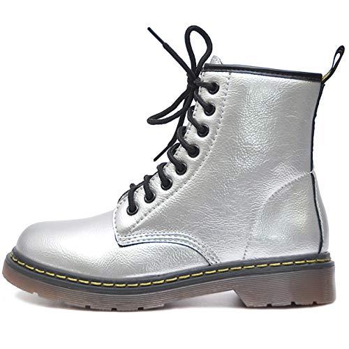 Vain Secrets Damen Army Schüren Boots Stiefeletten mit Profilsohle viele Farben (39 EU, Silber)