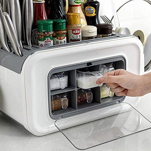 Opbergbox voor de keuken, multifunctionele Spice doos voor huishoudelijk gebruik, milieuvriendelijk PP materiaal met een hoge capaciteit, ideaal voor huishoudelijke producten,Black