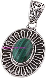Malachite Pendant, 925 Sterling Silver Pendants for Womens, Oval Gemstone Pendants, Handmade May Birthstone Pendants, Statement Pendant