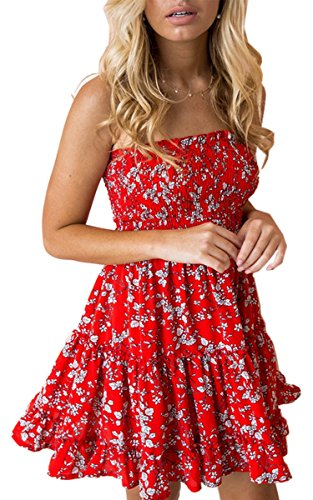 Angashion Women's Floral Strapless Pleated Flowy Skater Mini Tube Dress Red White