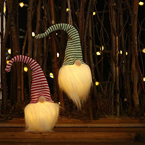 JCILZX Christmas Faceless Doll Ornament Lighted Pendant Glowing LED Swedish Gnome Plush Doll Light Xmas Decoration Gift (2 pcak)