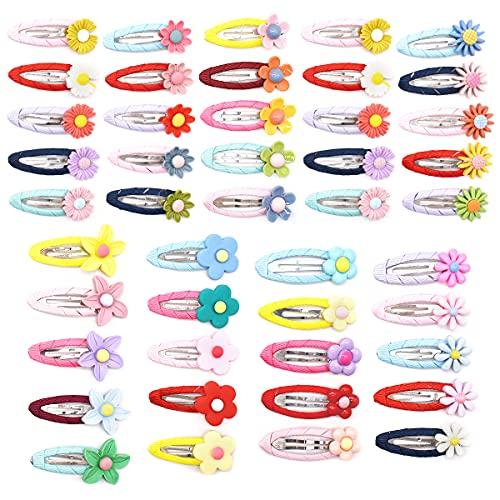 Pinzas Pelo Niña Clip, Xiuyer 45pcs Hebillas de Pelo de flores Metal Multicolor Clips de Pelo de Flor lindo Margaritas Pinzas para el Cabello para Chicas bebé Lady Mujeres Wedding Party Decoración