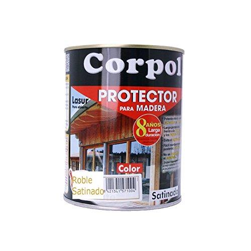 Barniz Corpol Roble Satinado protector para la madera exterior - 750 ml - frente a la intemperie, los rayos solares, la humedad, los insectos (carcoma, polilla...) y hongos que atacan la madera.
