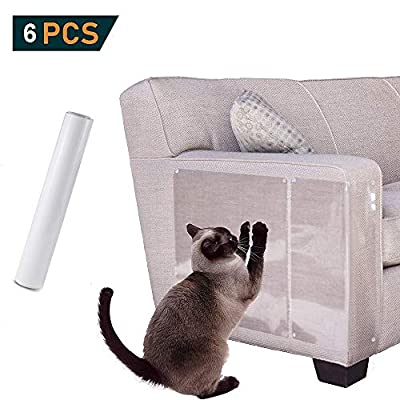 "GingerUP Pet Scratch Protector, Furniture Scratch Guards,Cat Furniture Protector Scratch Guards Transparent with Pins for Protecting upholstered Furniture Sofa, Carpets 18"" L x 12"" W? 6Pack from GingerUP"