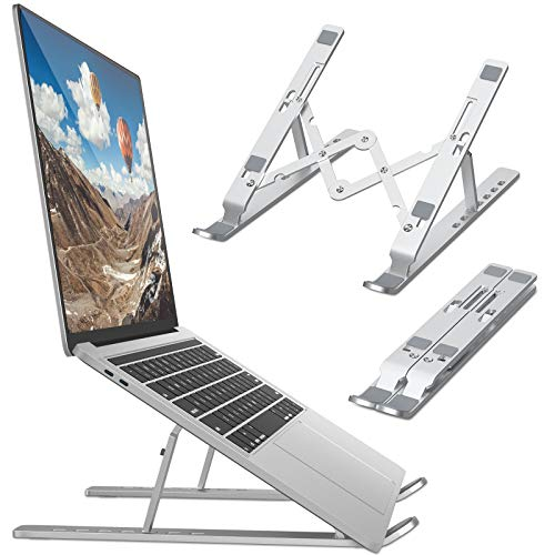 Bamoer Laptop Stand,Universal Ventilated Desktop Laptop Holder, Portable Foldable Laptop Riser with 7 Angles Height,Adjustment Non Slip Aluminum Laptop Mount (sliver)