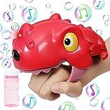 Tinleon Máquina de Burbujas de Mano con luz, soplador de Burbujas LED automático de Alto Rendimiento Fabricante de Burbujas para niños, Lindo Juguete de Burbujas de Dinosaurio Rojo con Sonido