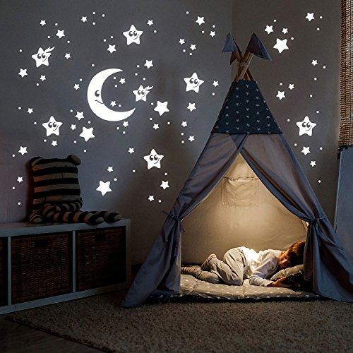 ilka parey wandtattoo-welt® Leuchtsticker Sternenhimmel Leuchtaufkleber Wandtattoo Wandsticker Mond Sterne & Punkte Set 78 Stück fluoreszierend M2211