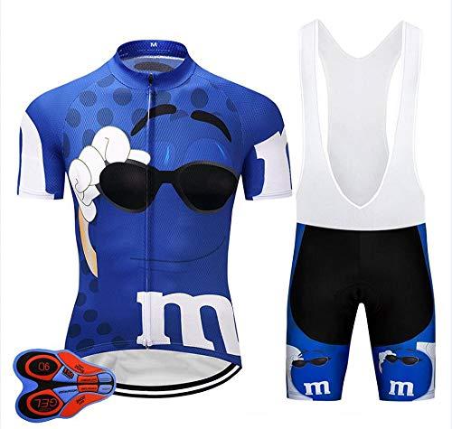 LLYY Fahrradbekleidung MTB Sportanzug Shorts Hosen,Fahrrad Team PRO Radtrikot Trägerhose Set, Herren Sommer schnell trocknende Fahrradhemden-A_XS
