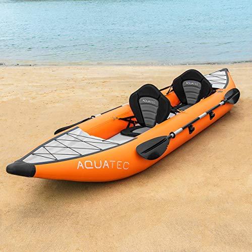 AQUATEC Kayak Kayak Gonflable de Peche en Mer ou en Rivière | Kayak Canoë Gonflable 1/2 Places avec Pagaies, Pompe et Sac de Transport | Canoe Gonflable (2 Places, Hudson (Intermédiaire))