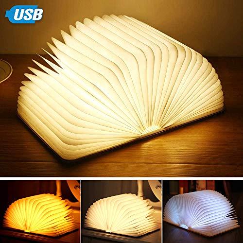 KIPIDA LED Buchlampe, Buch Lampe Nachttischlampe 360°Faltbar Hölzerne Buchlampe Stimmungsbeleuchtung Nachtlicht USB Wiederaufladbare Warm Weiß Licht Dekorative Lampen Wohnzimmer, Schlafzimmer