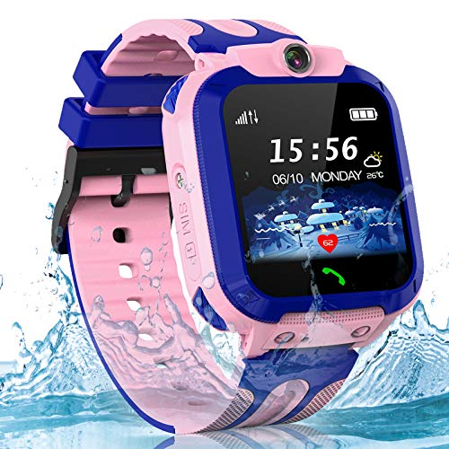 Kids Smart Watches for Boys Girls, GPS Waterproof Child Smartwatch HD Touch Screen Call SOS Camera Watch for Children 3-14 Ages Birthday Gifts(Blue)