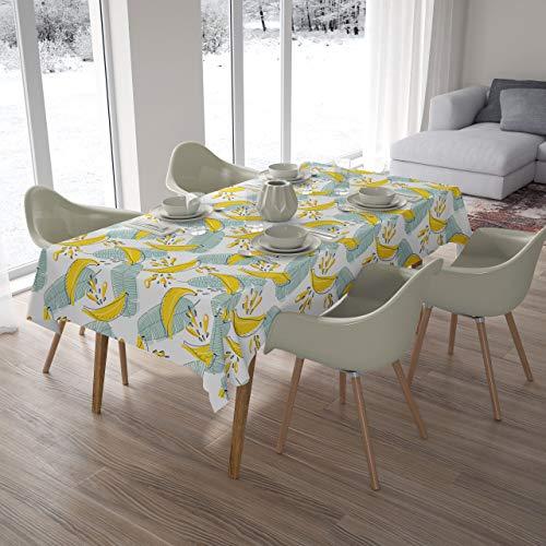 saewelo Tischdecke | Abwaschbare und Fleckabweisende Premium Textil Tischdecken für Indoor oder Outdoor | Oeko-Tex | Banane, 140 x 180