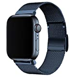 JIEBAO Band Compatible with Apple Watch 38mm 40mm 42mm 44mm, Stainless Steel Mesh Loop with Adjustable Metal Magnetic Replacement Strap Compatible with iWatch Series 6/5/4/3/2/1/SE