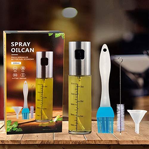 Iordan Oil Sprayer Ölsprüher Glas Flasche Olivenöl Sprüher zum Kochen Verbessertes Oil Sprayer für Pasta Salat, Grillen, Salat Machen, Backen, Braten (100ML)