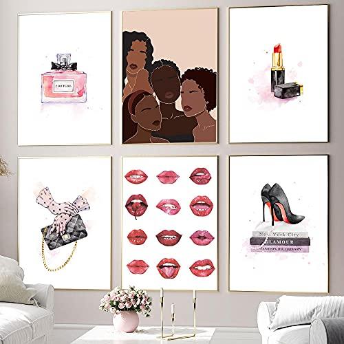 ZYQYQ Impresiones de mujeres africanas Póster de moda Perfume para niñas Tacones altos Lienzo Pintura Planta Mural Imágenes Cuadros Decoración para sala de estar 30x40cmx6 Sin marco
