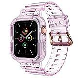 NotoCity Correa Compatible con Apple Watch SE, para Apple Watch Serie 6/5/4/3/2/1 38mm 40mm Correa de Repuesto con Funda, Creativa,Transparente (Rosa-B)