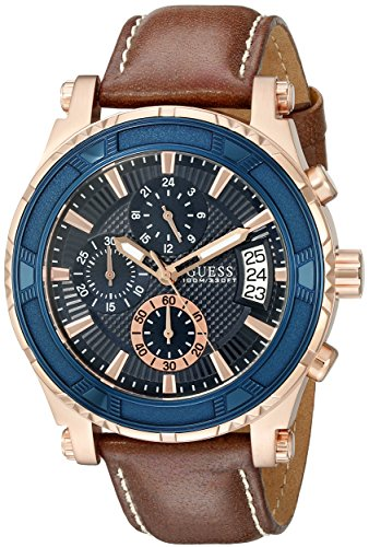 GUESS Brown + Blue Genuine Leather Chronograph Watch with Date Function. Color: Brown (Model: U0673G3)