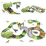 Juego de pistas de coche de dinosaurios Jurassic World Toys flexible variable Racing Track Game con coche de carreras, 8 figuras de dinosaurio, regalo de cumpleaños para niños y niñas de 3 4 5 6 años