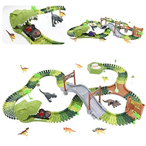 Circuito Coches de Dinosaurios Juguetes Incluyen 8 Dinosaurios, 1 Vehículo Eléctrico, Dinosaurios...