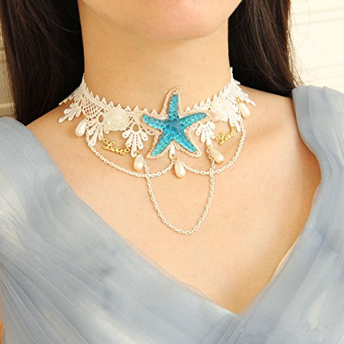 Bodermincer Summer Beach Style Bohemia Wedding Flower Head Wreath for Woman Party Mermaid Sea Star Starfish Decorations Charm Hairbands Mermaid Hair Accessories Mermaid Costume (Starfish Necklace)