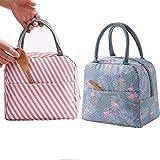 GCOA 2PCS Bolsa Térmica Almuerzo Impermeable Fiambrera Isotermica,Lunch Bag con bolsillo trasero,Para hombres, mujeres y niños (Flamingo & Pink Stripe)