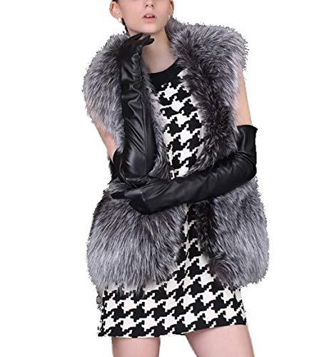 GL SUIT Frauen Faux-Pelz-Weste-Weste Damen Körperwärmer Kurz Gilet-Pelz-Mantel Shaggy Offene Strickjacke Mantel Herbst und Winter beiläufige Sleeveless Jacke Outwear,Grau,3XL