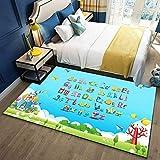 SYFANG alfombras,Alfombra de la habitación Infantil del Alfabeto inglés,La Pila Corta de diseño Tridimensional es Fuerte y Duradera,120X160cm (47X63inch)