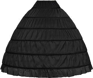 Women's Hoop Skirt A-Line Floor Length Petticoat Slips Underskirt Crinoline for Wedding Dress Ball Gown