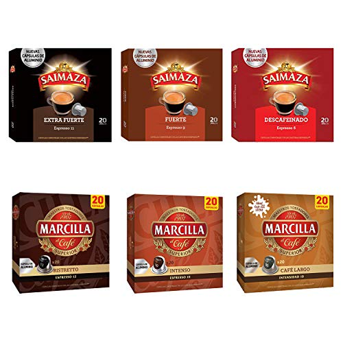 Paquete de cápsulas de café Marcilla - Cápsula de café de aluminio compatible con Nespresso® * - 6 paquetes (120 cápsulas)