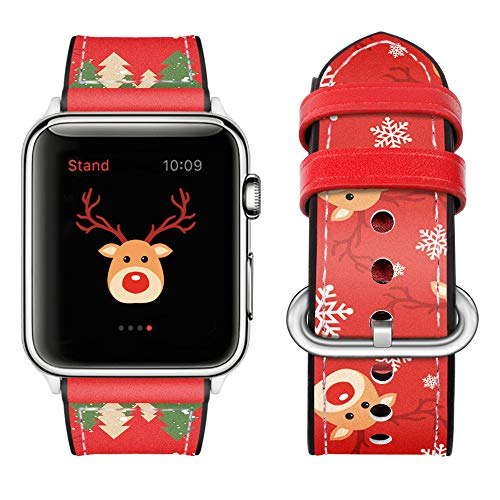 top4cus Christmas Band Compatible with Apple Watch 40mm Band Christmas Tree Xmas Elk Snow Leather and Silicone iwatch Strap Stainless Metal Clasp, for Series 6/SE/S5/S4 and Sport Edition (Red, 40mm)