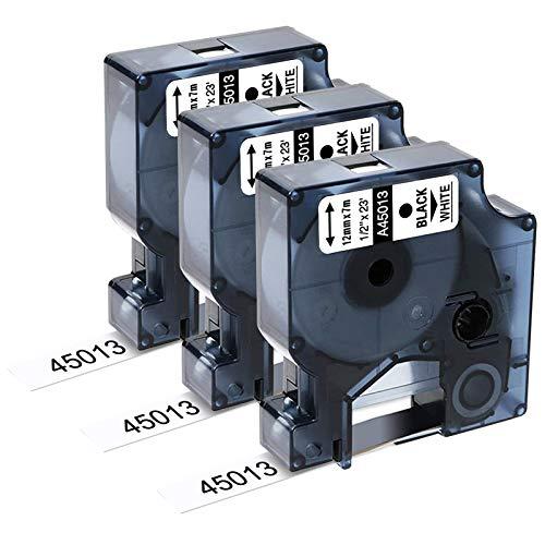 Upwinning kompatibel Schriftbänder als Ersatz für Dymo D1 45013 12mm x 7m Schwarz auf Weiß Etikettenband, S0720530 Kompatibel Dymo 120p 160 200 210D 280 360D 420P 500TS PnP, 3x