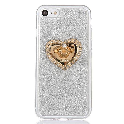 ISAKEN Compatibile con iPhone 7 Cover [Ring Holder] Morbida TPU Custodia Kickstand Flip Case con Diamante, Ultra Sottile Glitter Bling Case Cover Gomma Gel Cassa Backcover - Azzurro #B