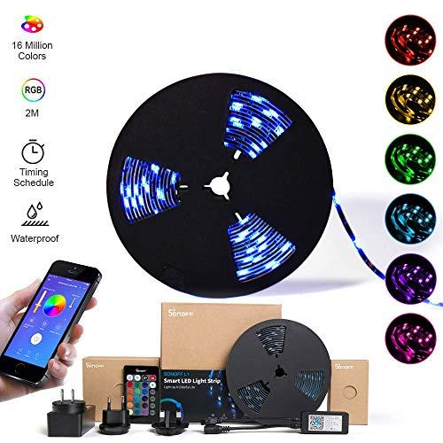 SONOFF L1 2M LED RGB Tira de luces inteligente regulable, tiras de luces Wi-Fi con control remoto mediante aplicación, a prueba de agua 2M 5050 IP65. Funciona con Amazon Alexa