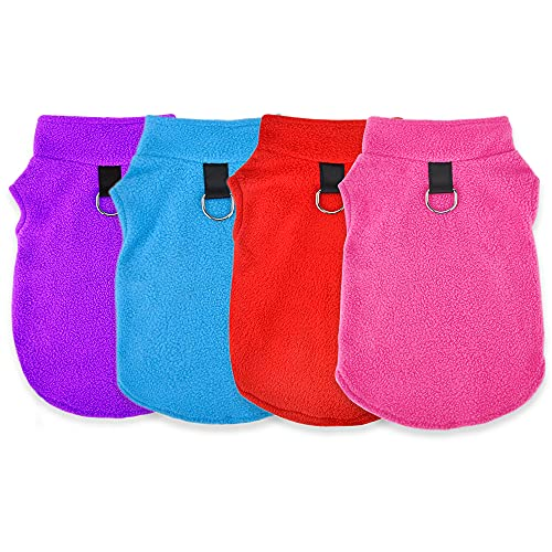 Sebaoyu Dog Clothes Fleece Sweater Winter Warm Pet Puppy Vest Small Dog Chihuahua Outfit with Leash Ring Coat Cat Clothing Soft French Bulldog Jacket 4 Pieces (Purple,Light Blue,Red,Pink, X-Large)