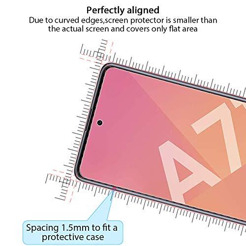 ANEWSIR 3 Stück Schutzfolie Kompatibel mit Samsung Galaxy A71/ A71 5G Panzerglas Displayschutzfolie, 9H-Härte/Keine Blasen/Einfach zu montieren/mit Montagehalterung