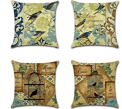 JOVEGSRVA Juego de 4 fundas de almohada decorativas de 45 cm x 45 cm para sala de estar, sofá, cama, fundas de almohada
