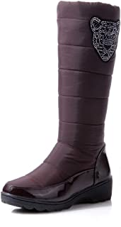 Women's Cotton Fashion Waterproof Snow Boots Knee High Boots Flat Winter Boots Platform Fur Shoes