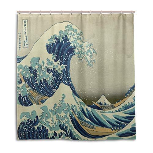 CPYang Duschvorhänge Vintage Japanische Welle Wasserdicht Schimmelresistent Bad Vorhang Badezimmer Home Decor 168 x 182 cm mit 12 Haken