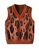 Niños Niñas Jersey De Punto Sin Mangas Chaleco Leopardo Cuello En V Suéter Pullover Marrón 100 Adecuado para la Altura: 100CM
