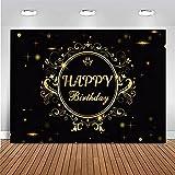 Fondo de Feliz cumpleaños Fondo de fotografía de Brillo Dorado decoración de Fiesta de cumpleaños Banner Foto de Fondo A1 7x5ft / 2,1x1,5 m