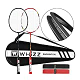 WHIZZ Heavy Duty Graphite Badminton Racket, Full Carbon Fiber Professional Set for Adults with Badminton Bag & 2 Racquet Grip (Y5Y6 Black+Red)
