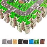BodenMax CRS-FL3010MAP-18 Alfombrilla Puzzle protectora de espuma para niños y bebés con diseño de rompecabezas en forma de circuito urbano con 18 piezas de 30x30x1 cm