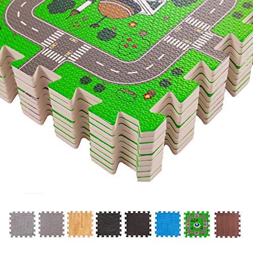 BodenMax Puzzlematte mit Stadt und Straßen für Babys und Kinder – Spielmatte, Krabbelmatte und Kinderspielteppich 30x30x1 cm (18 Stück)