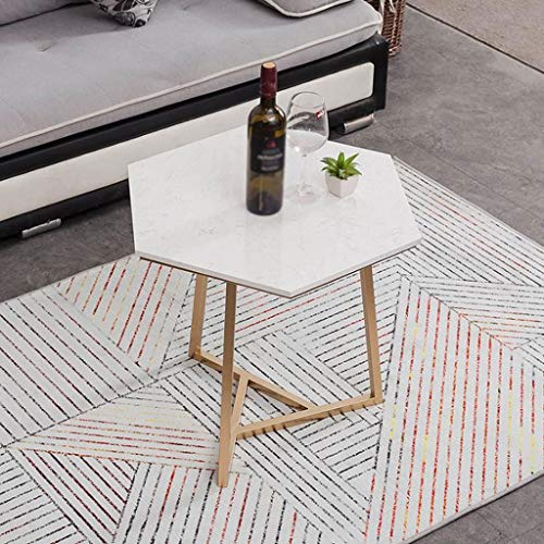 AMYAL Side Table End Table End Table Polygon Side Tables Marble Coffee Table Modern Tea Table with Metal Legs for Home Living Room, 6453cm Sofa Coffee Table