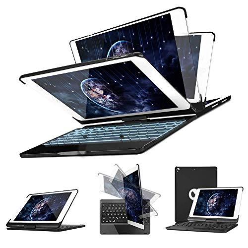 SENGBIRCH Funda con Teclado iPad 9.7 2018-iPad 9.7 2017-iPad Air 2-iPad Air-iPad Pro 9.7, 7 Colores Bluetooth Inalámbrico Retroiluminado-360 Rotaciones-Funda con Teclado para iPad, Negro